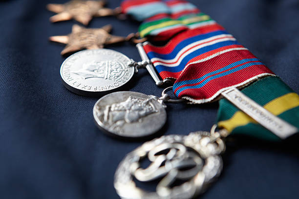 strip of medals - medal stock photos and pictures