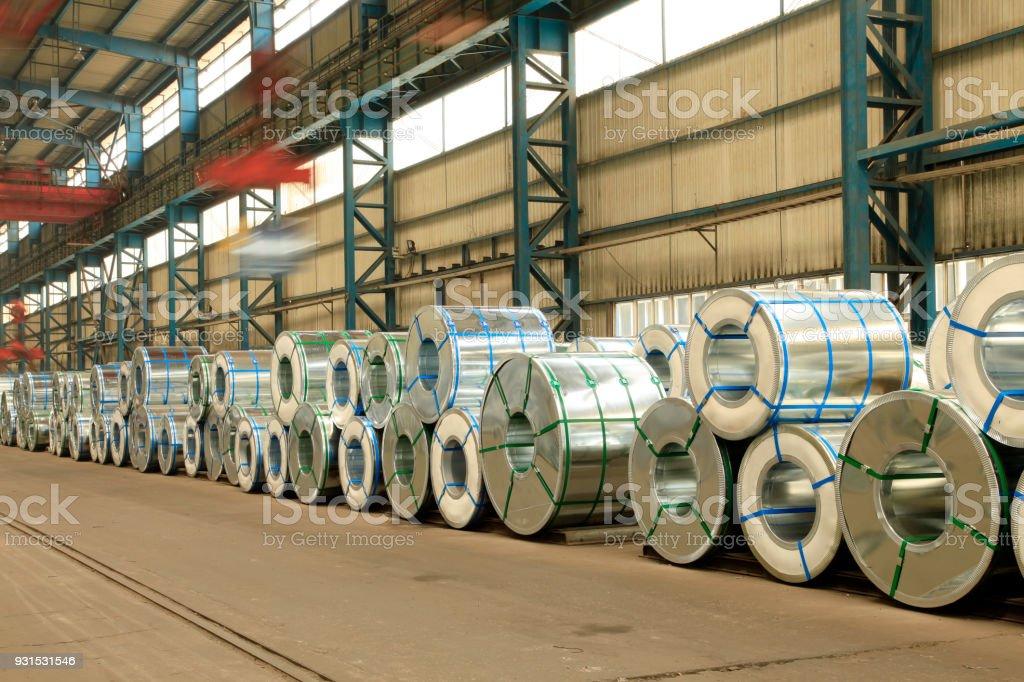 Strip steel production workshop stock photo