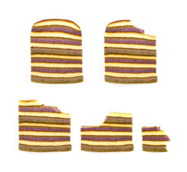 條紋黃油蛋糕海綿設置隔離在白色的背景。垂直斑馬或大理石蛋糕。頂部視圖。關門了gif 動畫的進食順序。 - gif 個照片及圖片檔