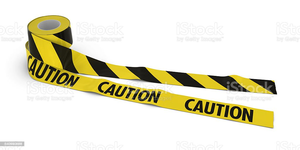 Striped Barrier Tape and CAUTION Tape Rolls unrolled across floor stock photo