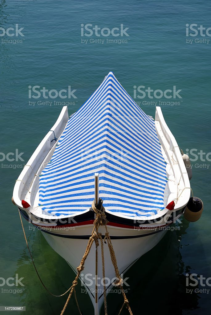 striped boat cover royalty-free stock photo