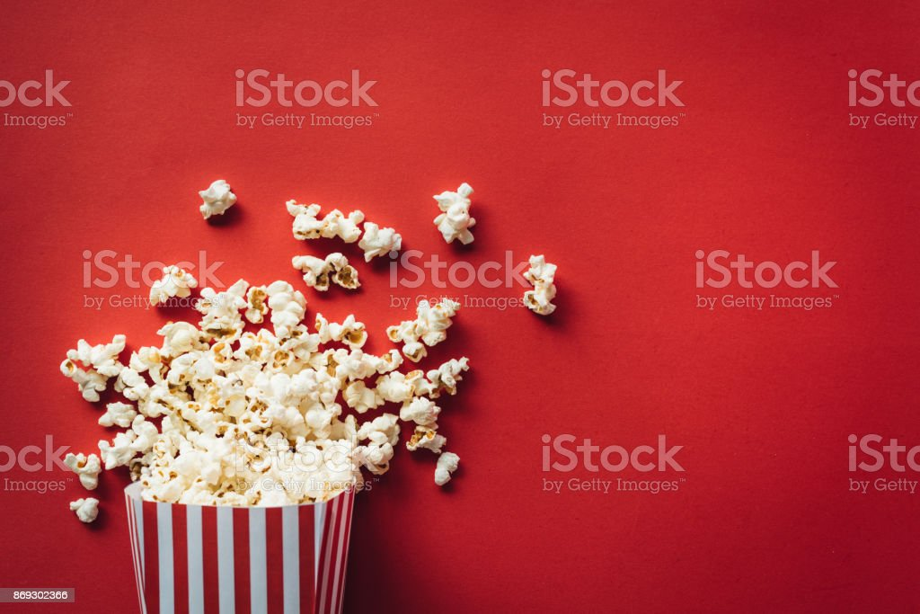Striped box with popcorn stock photo