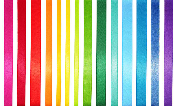 a striped colored spectrum of rainbow colors - ribbon 個照片及圖片檔