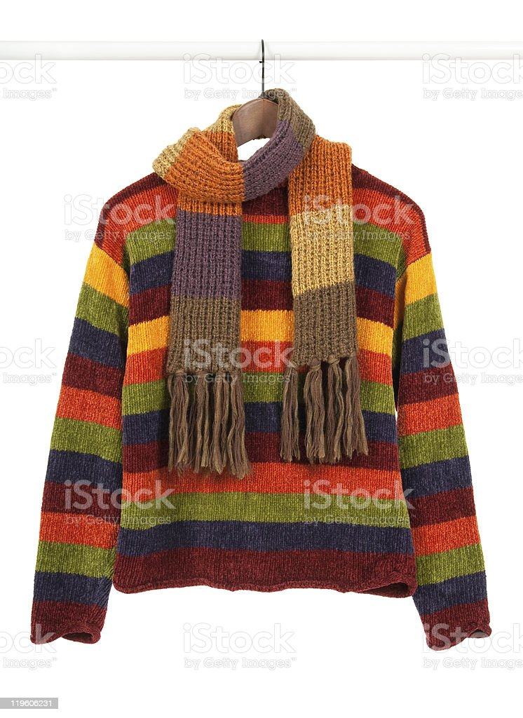 Striped colorful sweeter and scarf stock photo
