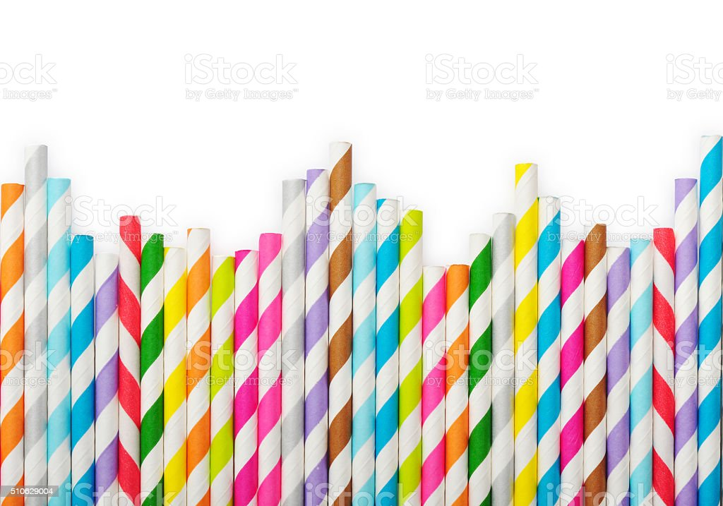 Striped drink straws stock photo