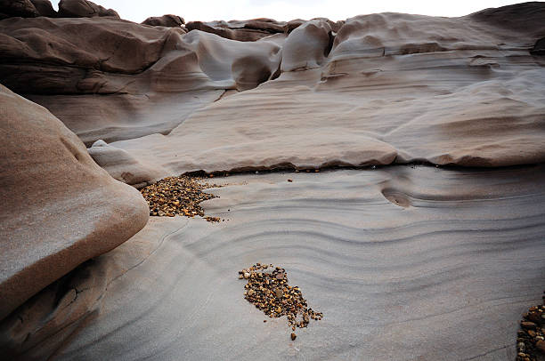 striped eroded stone at Chom Dao canyon, Mekong river stock photo