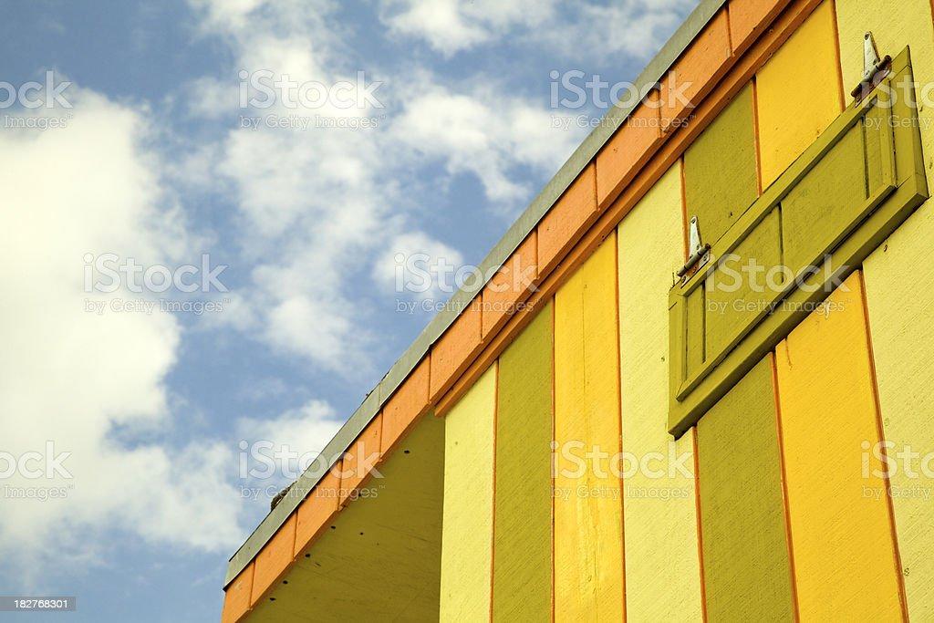 Striped Lifeguard Tower, South Beach, Miami Florida stock photo