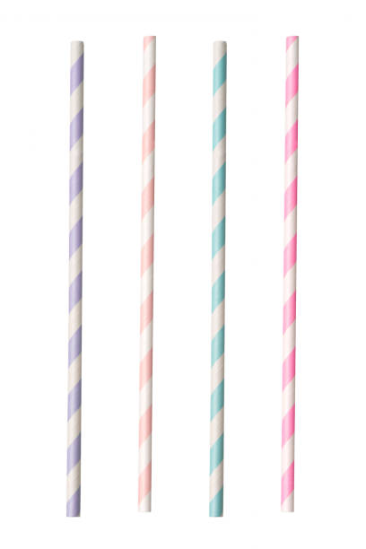 Striped paper straws Striped paper straws isolated on white background. drinking straw stock pictures, royalty-free photos & images