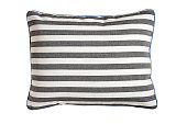 Striped pillow isolated on white background (with clipping path)