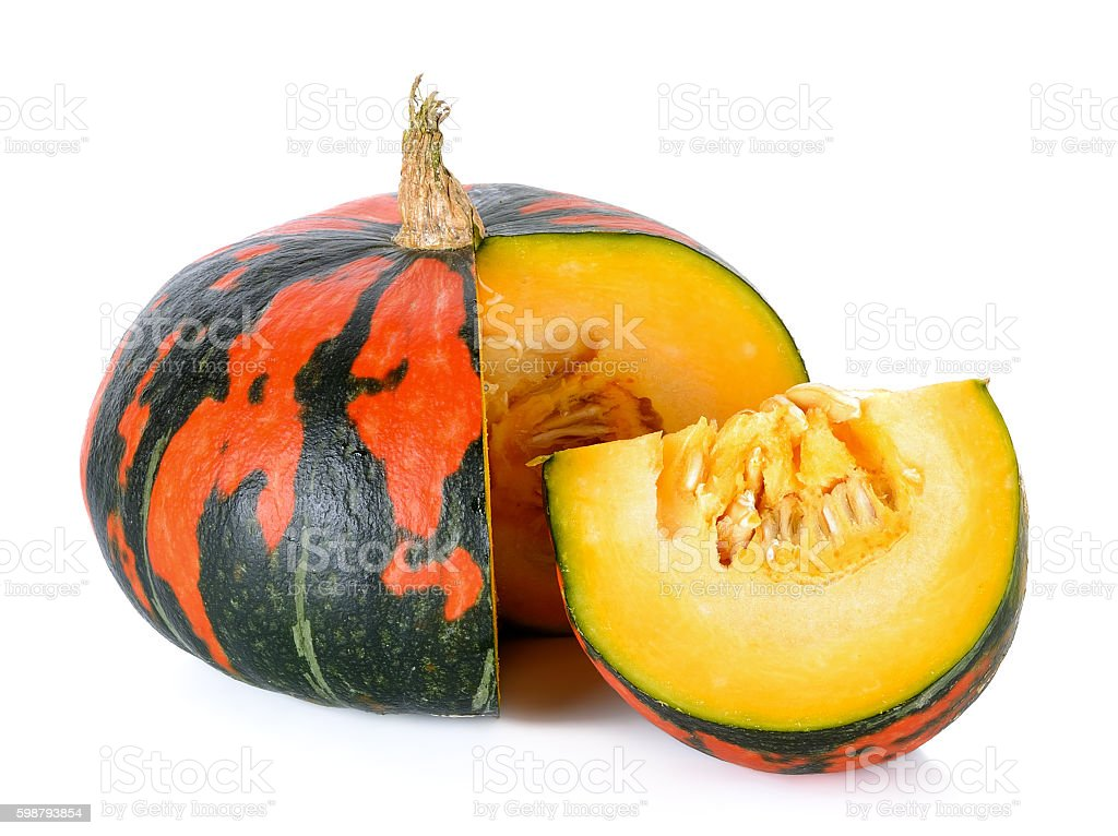 Striped pumpkin isolated on the white background stock photo