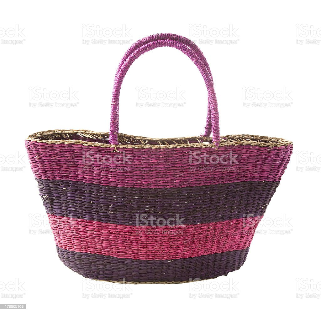 Striped purple mauve basket tote