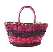Striped purple mauve basket tote