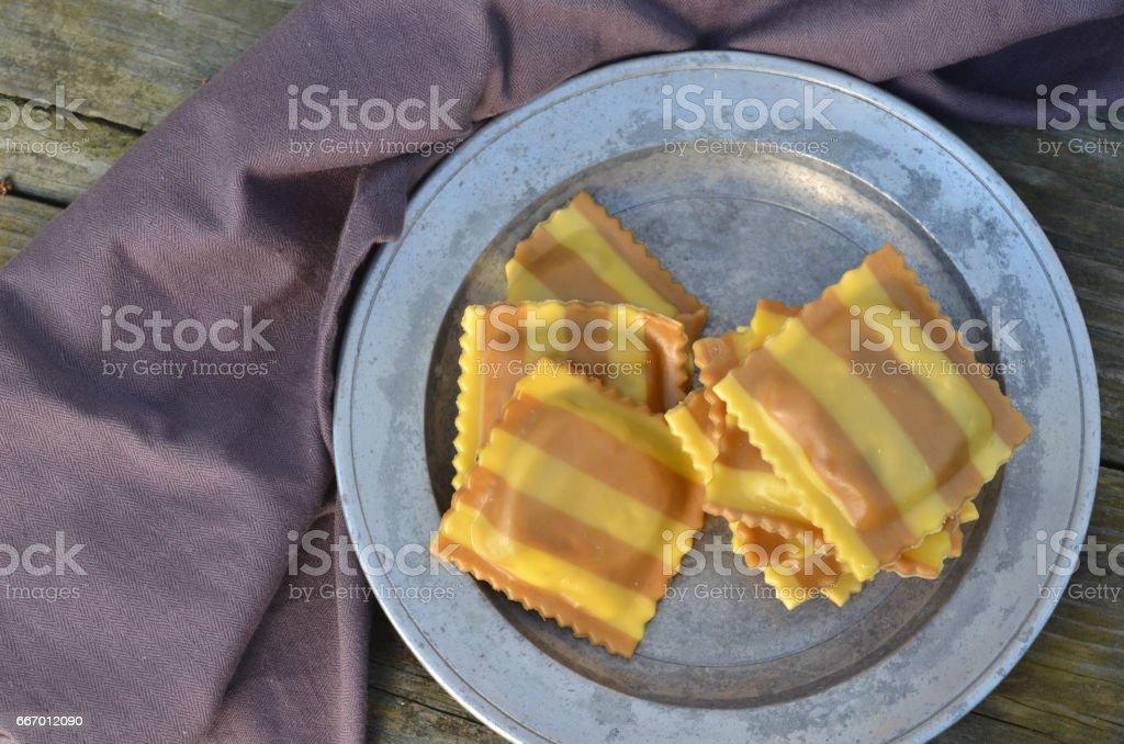 striped ravioli stock photo