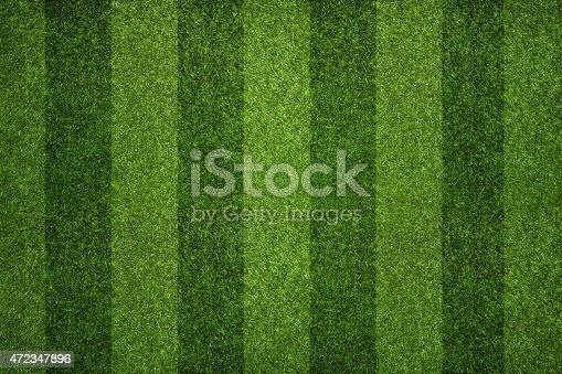 istock Striped soccer field 472347896