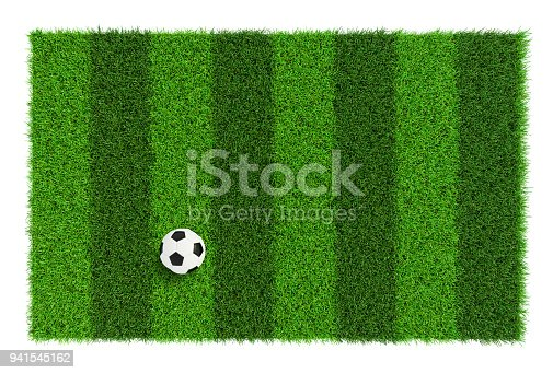istock Striped soccer field texture with soccer ball, background with copy space top view - isolated on white background 941545162