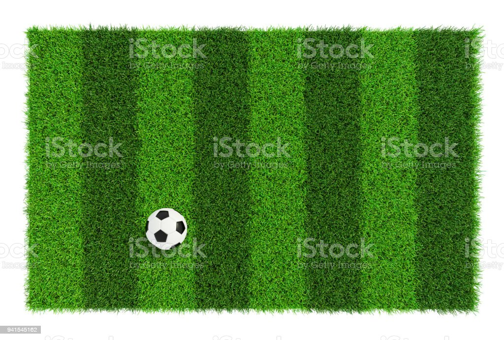 Striped soccer field texture with soccer ball, background with copy space top view - isolated on white background stock photo