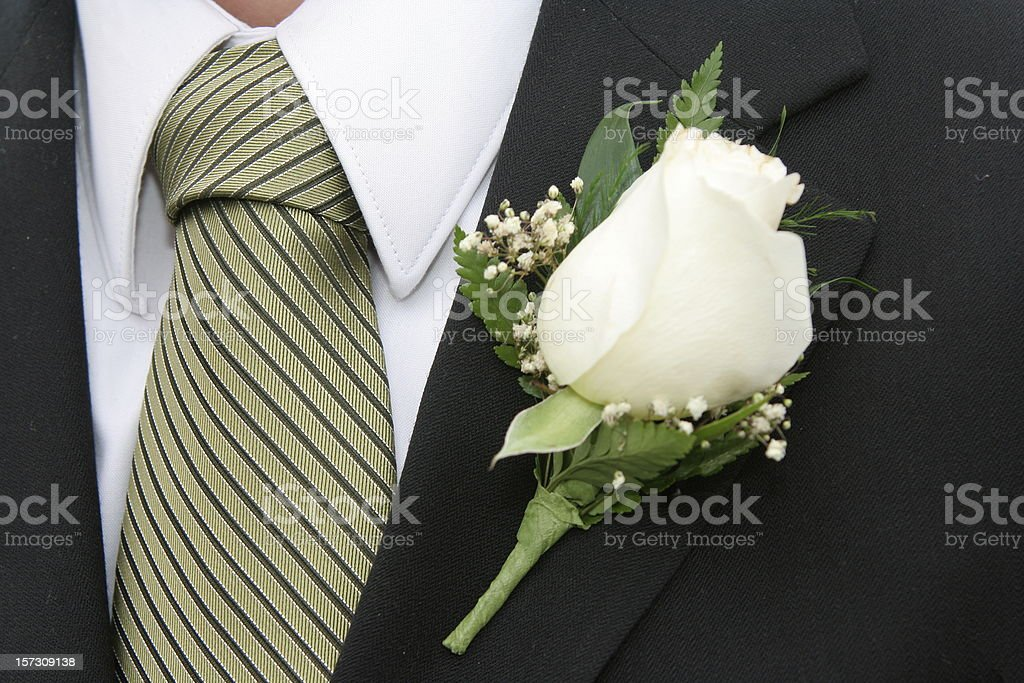 Striped Tie and White Rose Boutonniere royalty-free stock photo