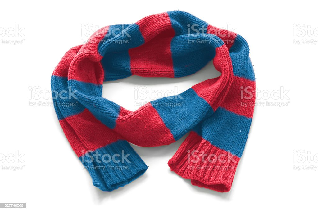 Striped warm scarf on a white background stock photo