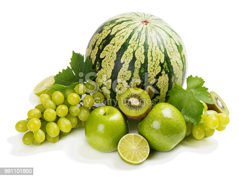 Green fruits: watermelon, apple, lime, kiwi and bunch of grape with green leaves isolated on white background. Green fruits concept.