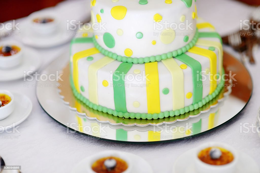 Striped wedding cake stock photo