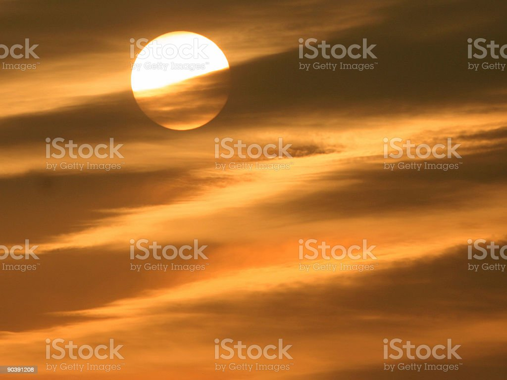 Stripes in a Golden Sunset Sky royalty-free stock photo