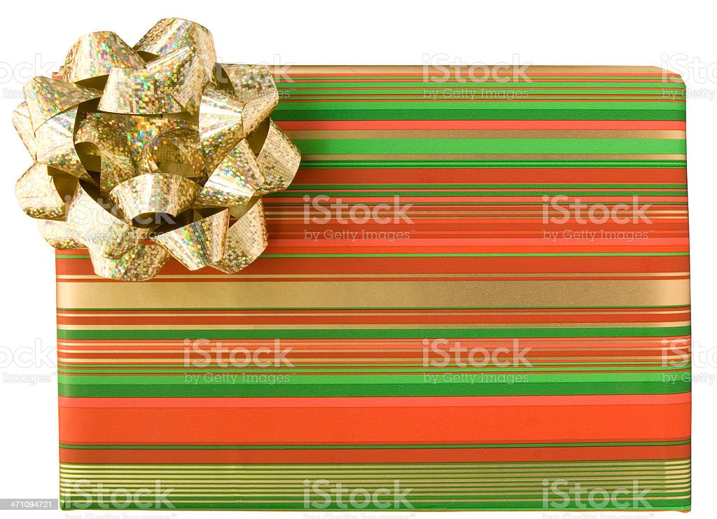 Stripey gift with gold bow royalty-free stock photo