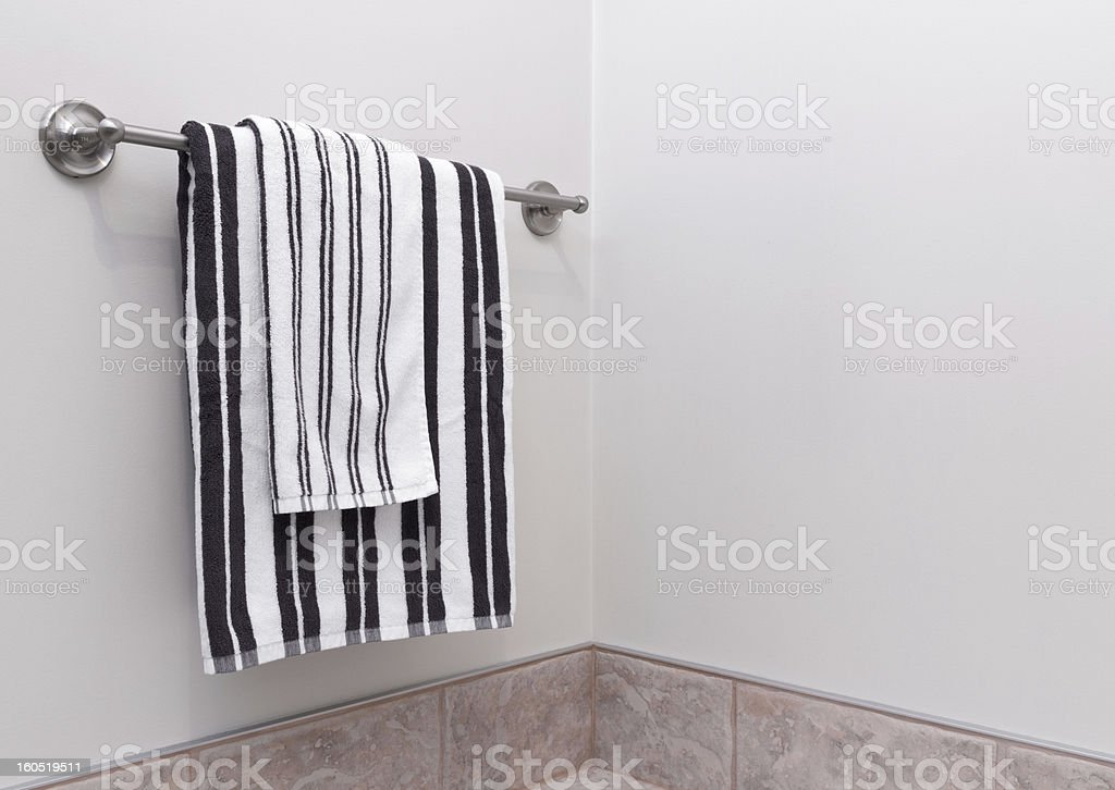 Stripped bathroom towels on towel holder royalty-free stock photo