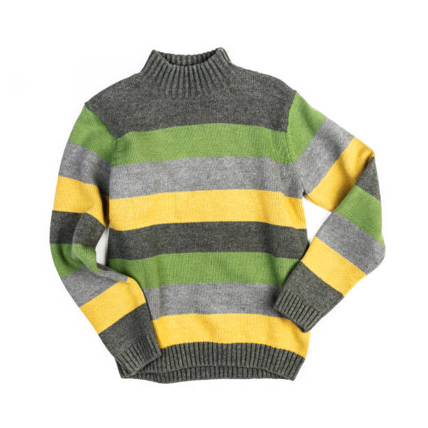 Stripped knitted sweater isolated on white background stock photo