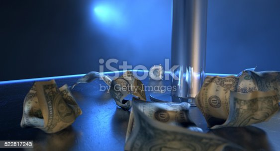 An isolated stripper pole on a stage lit by a single spotlight surrounded by crumpled up one dollar bill tips on a stripclub background