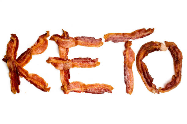 Strips of Bacon Spelling the Word Keto stock photo