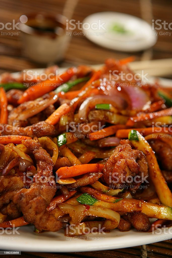 Strips of chicken breast and vegetables royalty-free stock photo