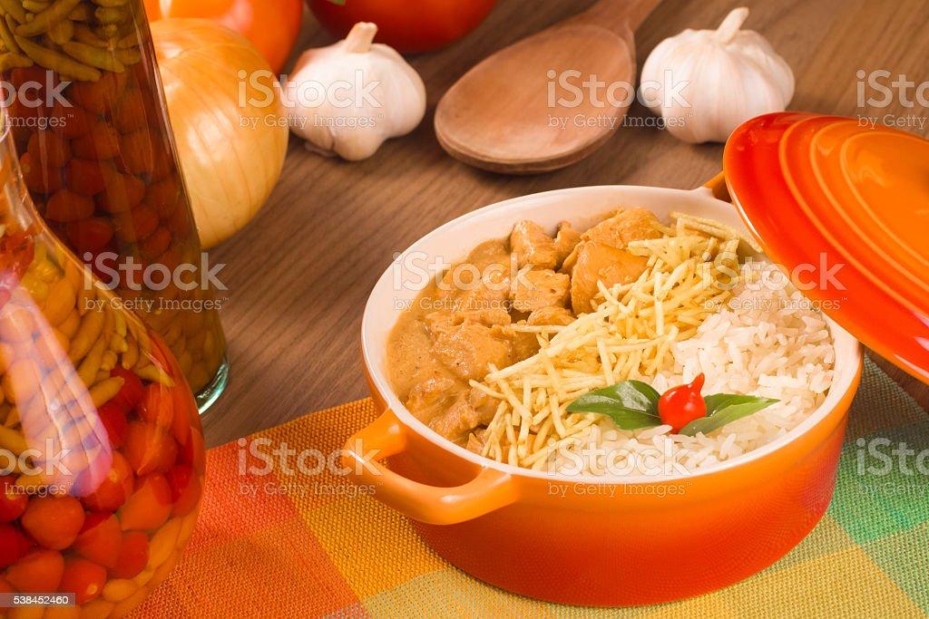 Stroganoff Chicken with rice stock photo