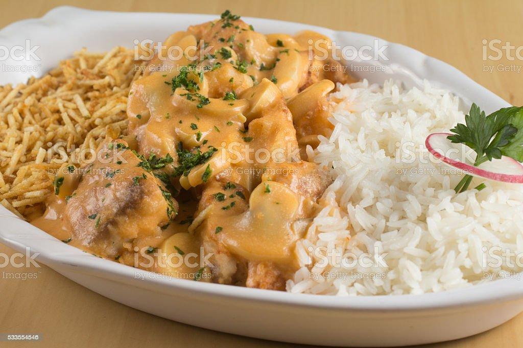 Stroganoff Fish with Rice stock photo