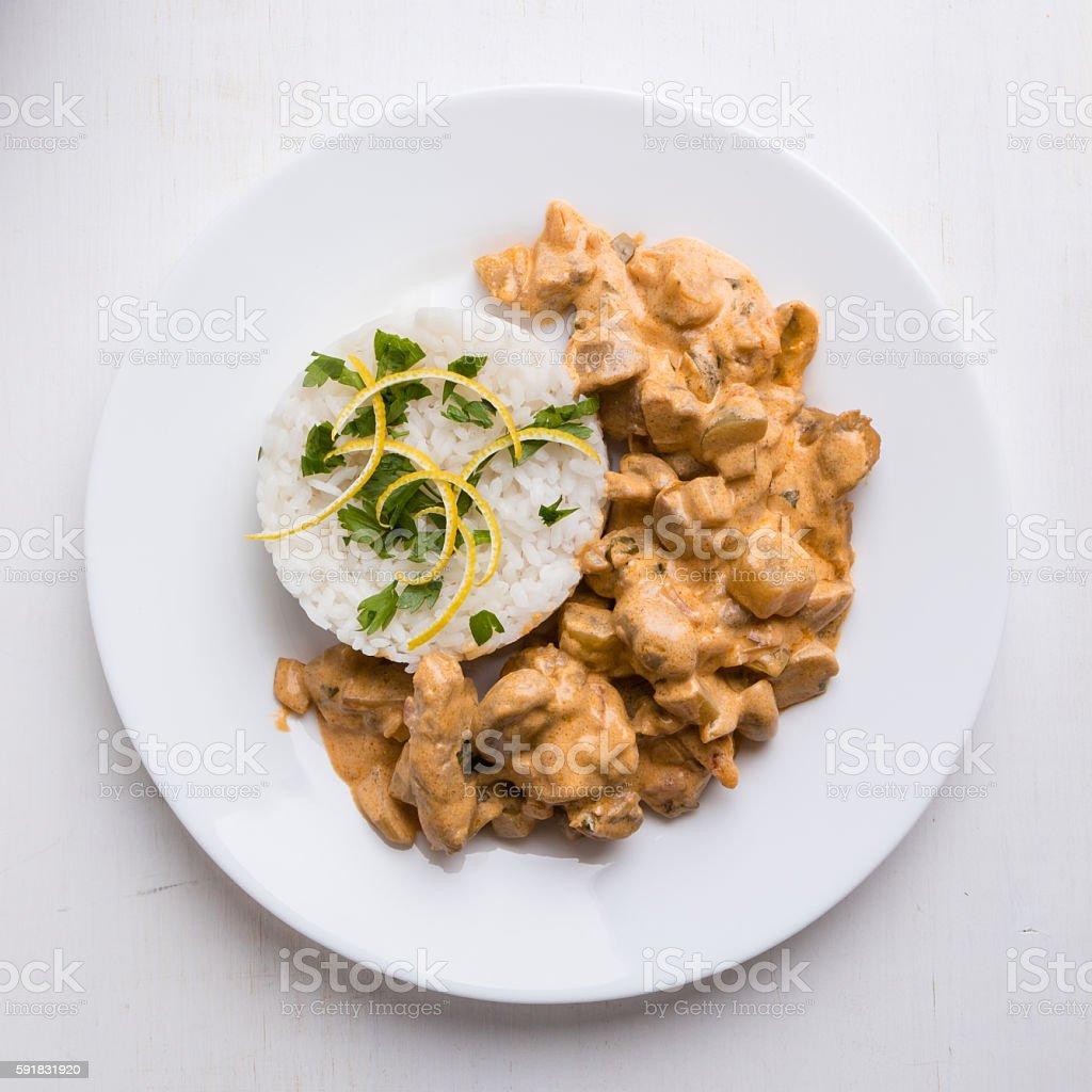 stroganoff with rice stock photo