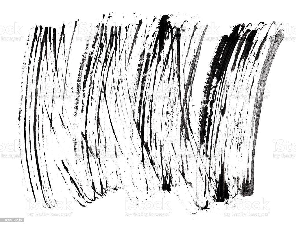 Stroke (sample) of black mascara, isolated on white macro stock photo