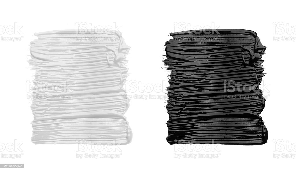 Strokes of black and white paint stock photo