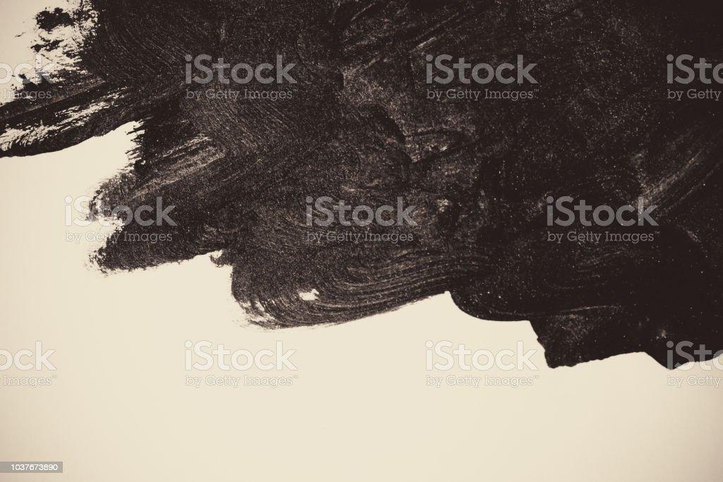흰색 바탕에 검은 페인트 스트로크 스톡 사진