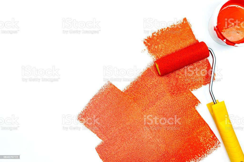 strokes of red paint on white surface - Royalty-free Apartment Stock Photo