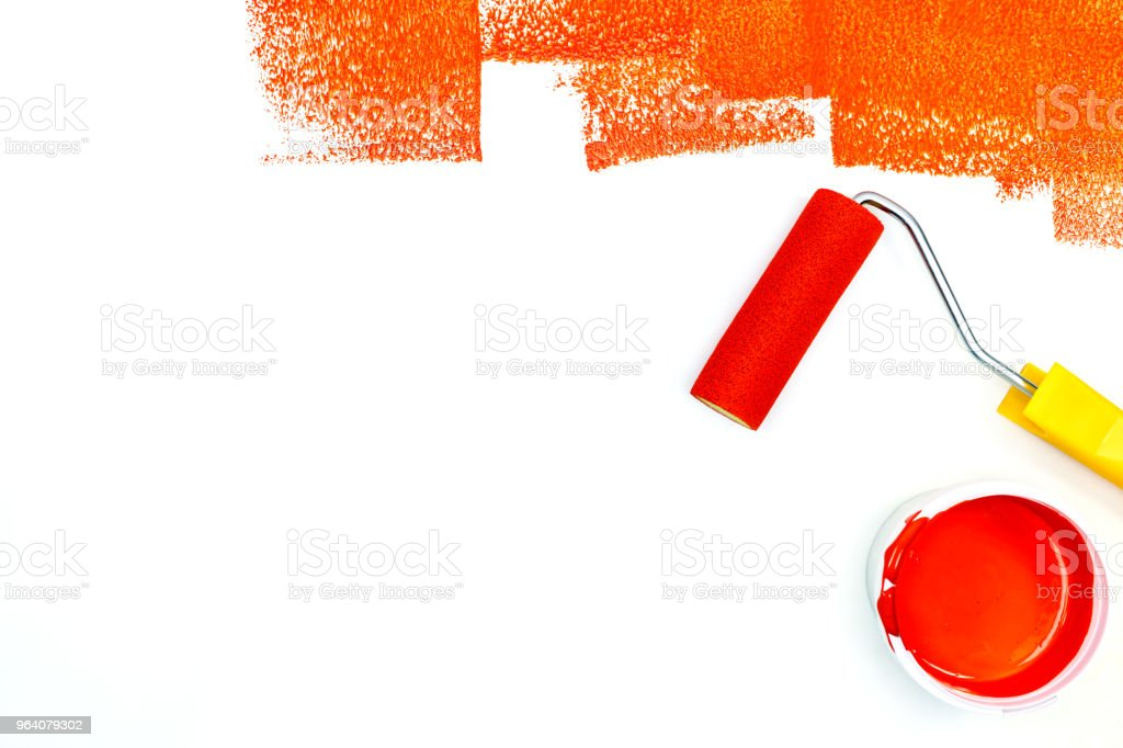 strokes of red paint. roller and paint can and on white background - Royalty-free Apartment Stock Photo