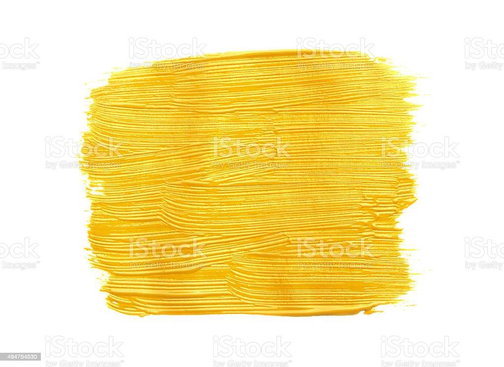 Strokes of yellow paint stock photo