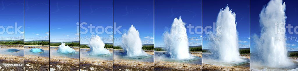 Strokkur Geyser eruption in sequence stock photo