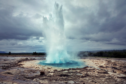 Strokkur is a fountain geyser located in a geothermal area beside the Hvítá River in Iceland in the southwest part of the country, east of Reykjavík.
