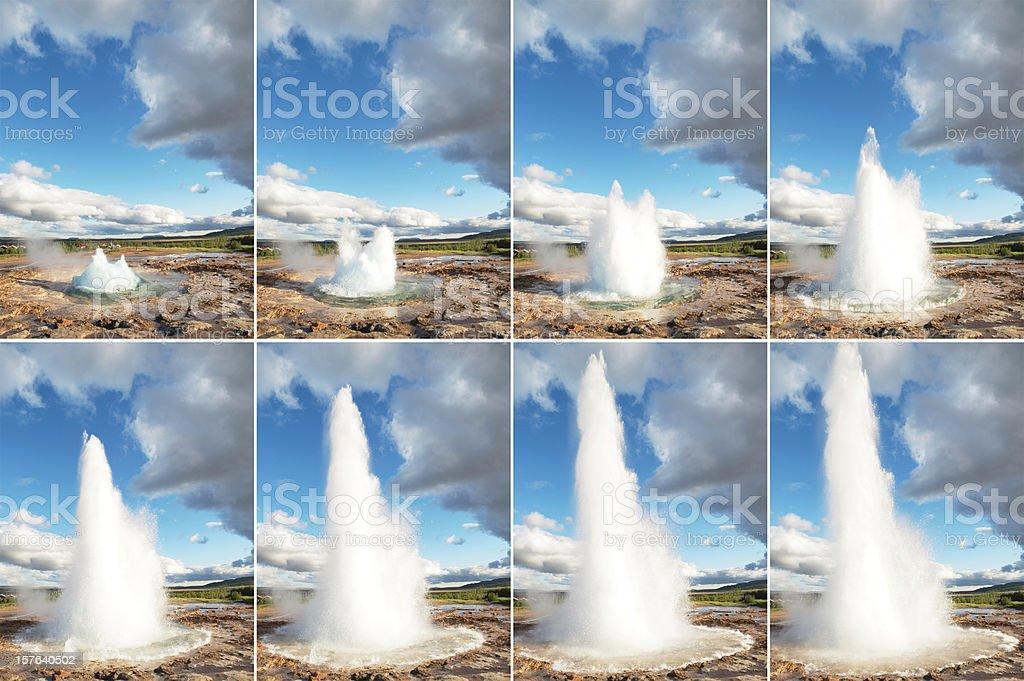 Strokkur geysir sequence royalty-free stock photo