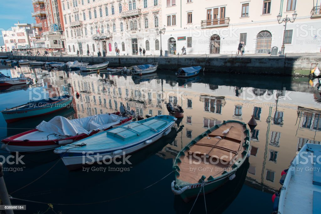 Stroll along the banks and squares of Trieste stock photo