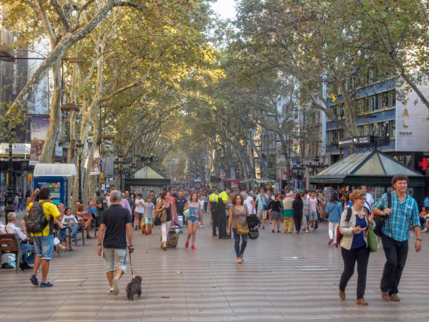 Stroll on La Rambla - Barcelona stock photo