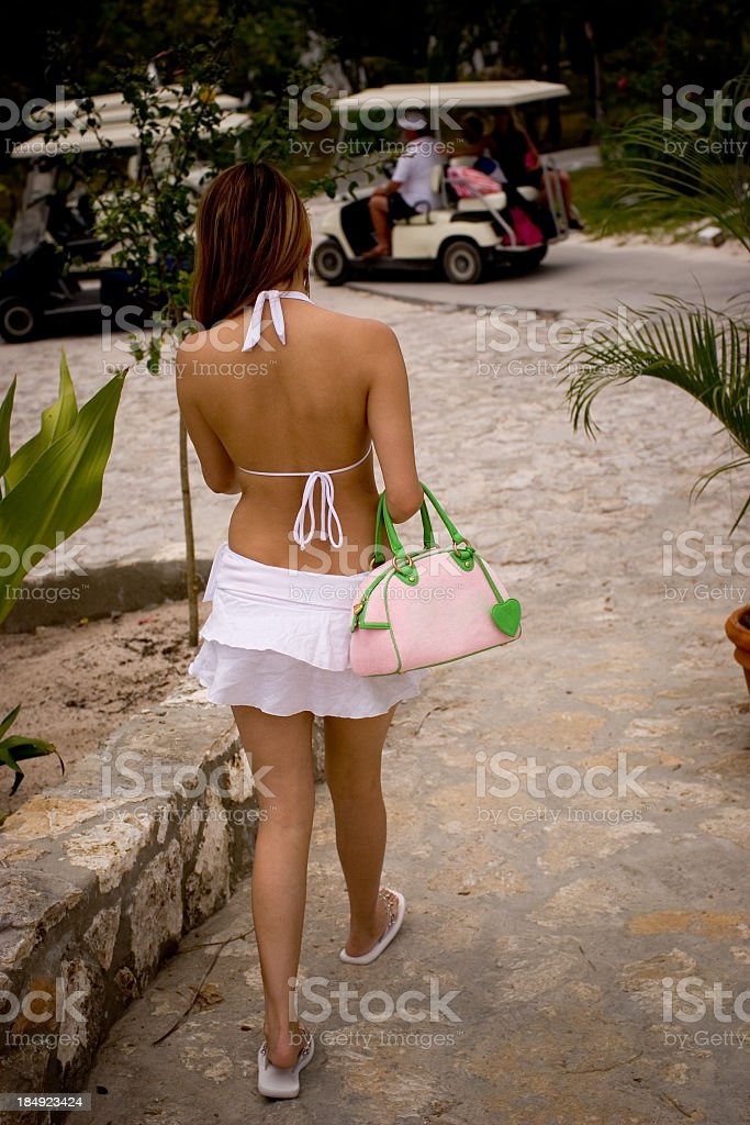 Strolling on Harbour Island Bahamas stock photo