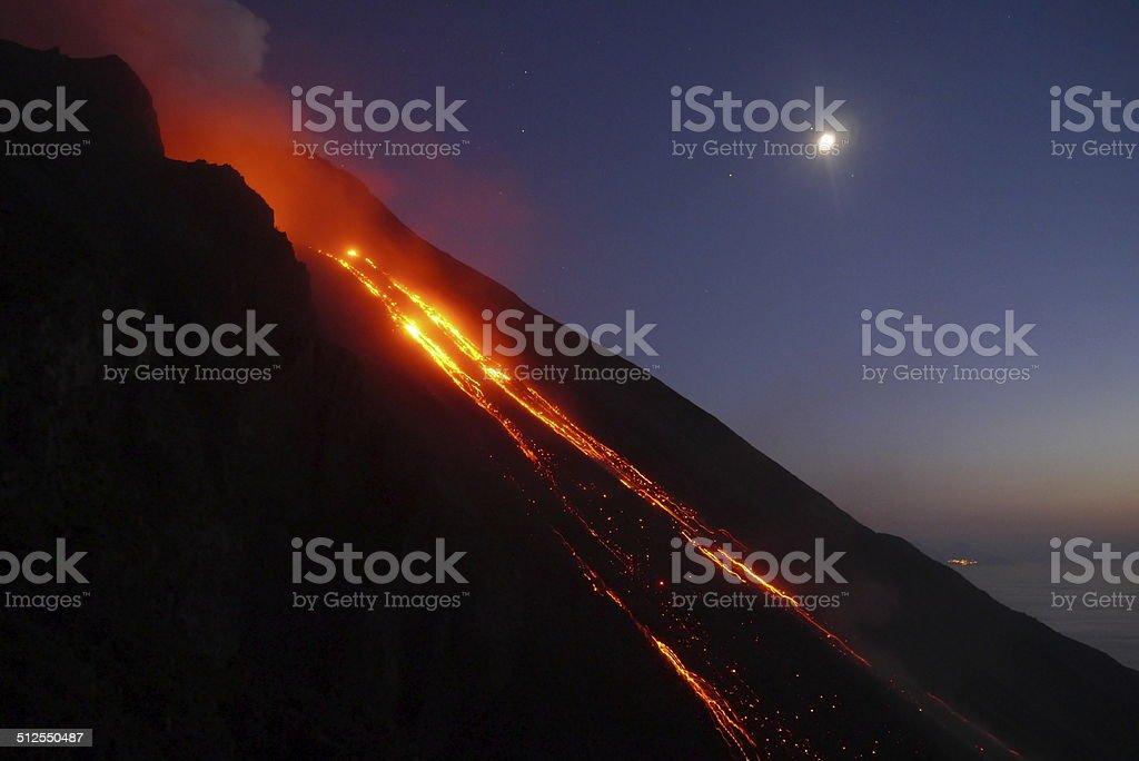 Stromboli lava flow stock photo