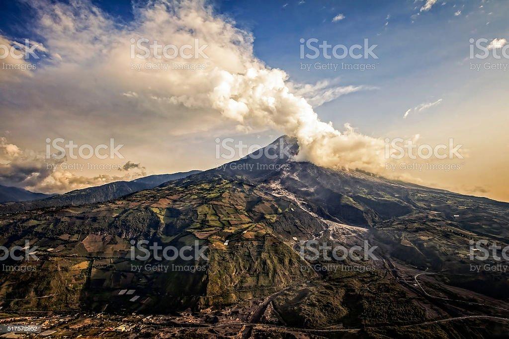 Strombolian Activity At Sunset Of Tungurahua Volcano stock photo