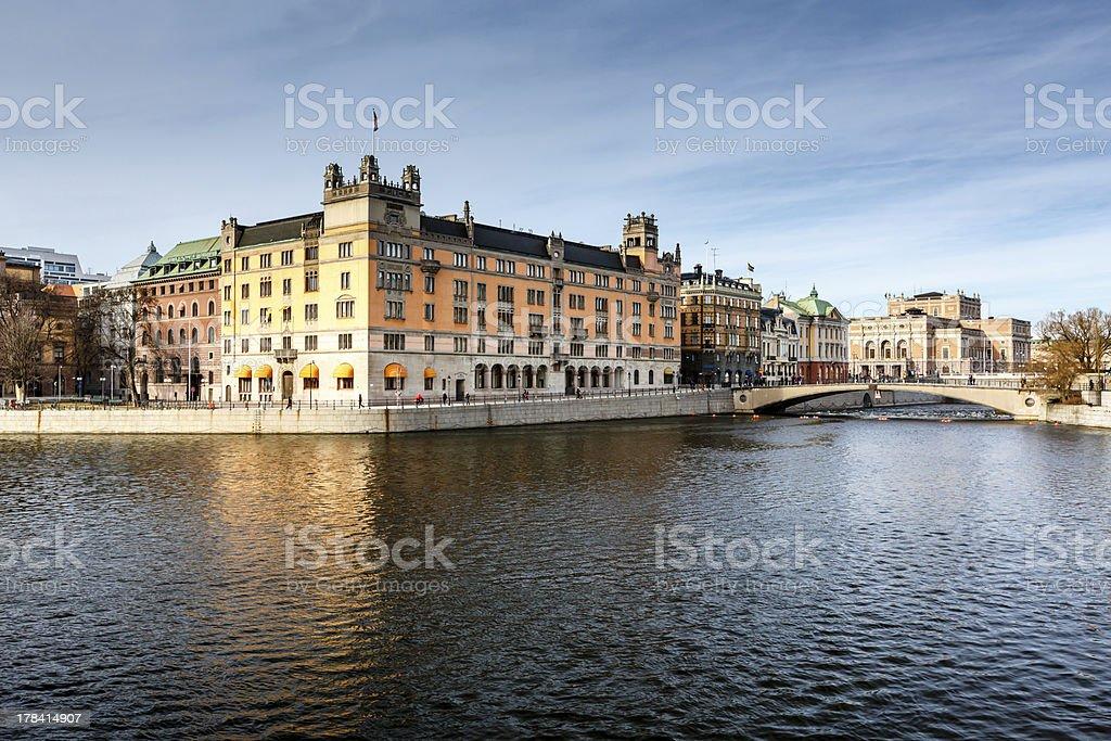 Stromgatan Embankment and Royal Opera in Stockholm, Sweden stock photo