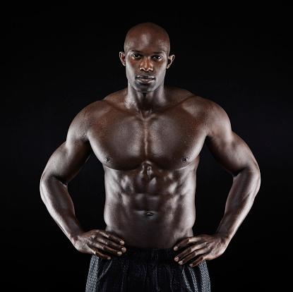 African American Bodybuilder Man Naked Muscular Stock